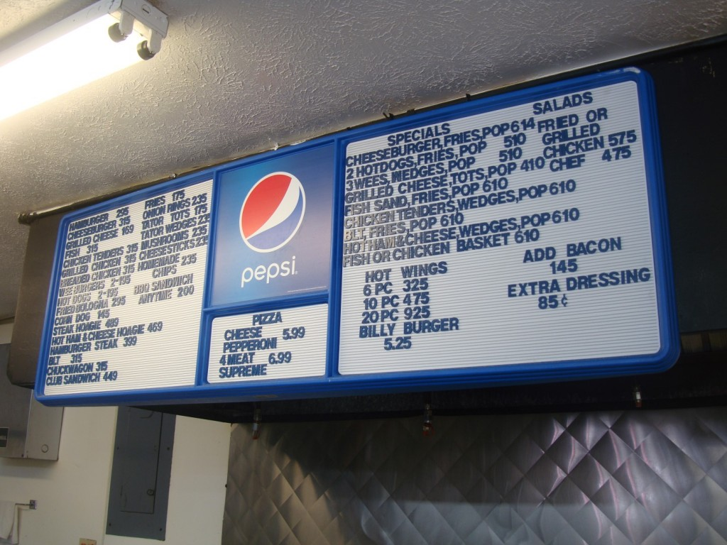 Online Menu For Billy's One Stop