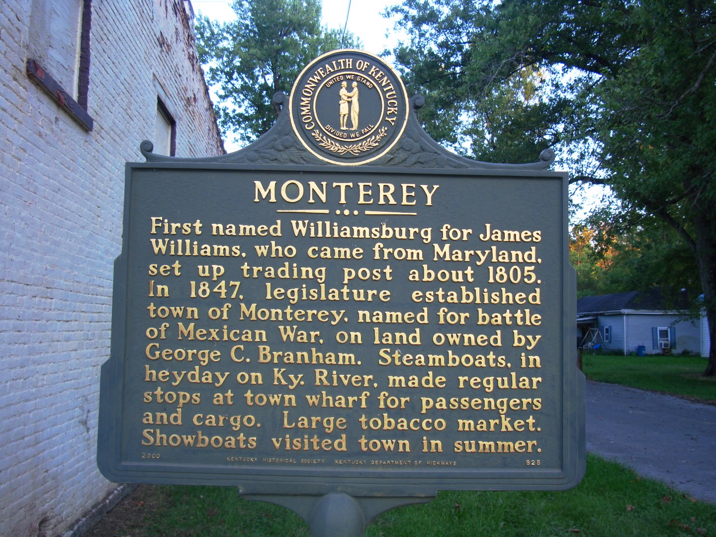 Historical Marker In Monterey Kentucky